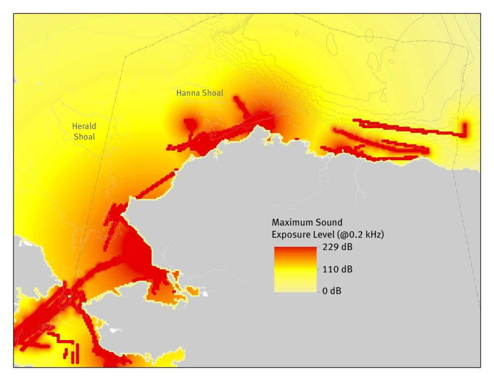 Results of preliminary soundscape analysis, modeling the effects of vessel traffic on underwater noise levels.