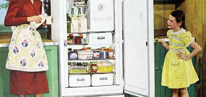 """""""What is food studies?"""" An N. C. Wyeth 1948 illustration advertising the General Electric Space Maker Refrigerator. Image from Wikimedia Commons."""