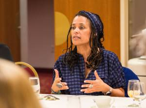 Carolyn Finney addresses the Nelson Institute's Community Environmental Scholars Program in Madison, Wisconsin, April 2016. Photo by Ingrid Laas.