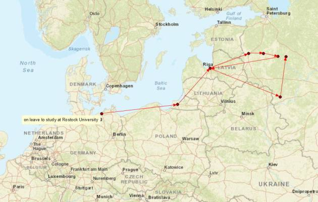 After returning to the Eastern Front, Simon spent 1942 and most of 1943 in the area between Moscow and Leningrad. Map by the author.