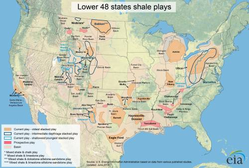 Current and prospective sites of shale natural gas extraction. Map by the U.S. Energy Information Administration, June 2016.