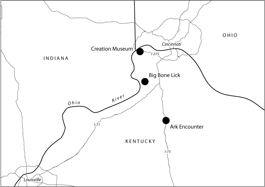 Locations of Big Bone Lick, the Creation Museum, and Ark Encounter. Map by Carl Sack.