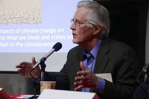 """William deBuys speaking about """"a healthier rural west"""" at a conference at Stanford University. Photo by the Bill Lane Center for the American West, March 2017."""