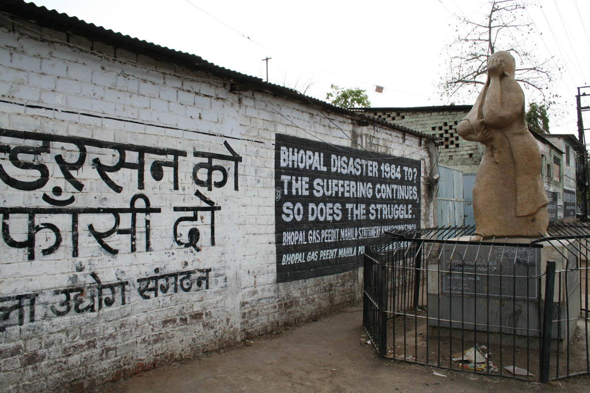 Memorial site of Union Carbide disaster, Bhopal, India, 2008. Source: Wikimedia Commons.