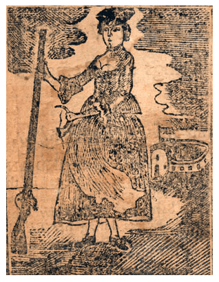 """A woodcut from a 1770 edition of the narrative of Mary Rowlandson. Image from <a href=""""https://commons.wikimedia.org/wiki/File:1770_MaryRowlandson_Captivity.png"""" target=""""_blank"""" rel=""""noopener noreferrer"""">Wikimedia Commons</a>."""