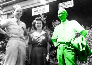 Aldo Leopold (right) with Art Hawkins and Alice Harper Stokes in Madison, Wisconsin. Photo by U.S. Fish and Wildlife Service, 1946.