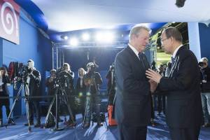"""UN Secretary-General Ban Ki-moon, together with Al Gore, former United States Vice President and Chair of the Climate Reality Project, had a joint encounter with civil society representatives and the press during the during the UN Climate Change Conference in Paris (COP21). """"An Inconvenient Sequel"""" follows Al Gore in his efforts to tackle climate change."""