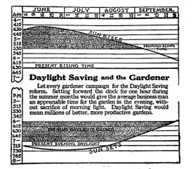 A gardening book from 1918 introduces Daylight Saving and its advantages for the home gardener.