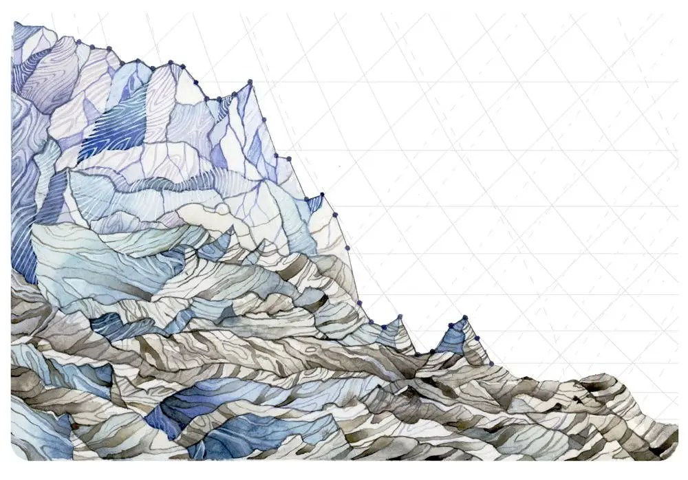 Jill Pelto illustration of a glacier, its top edge a line graph dropping severely from left to right.