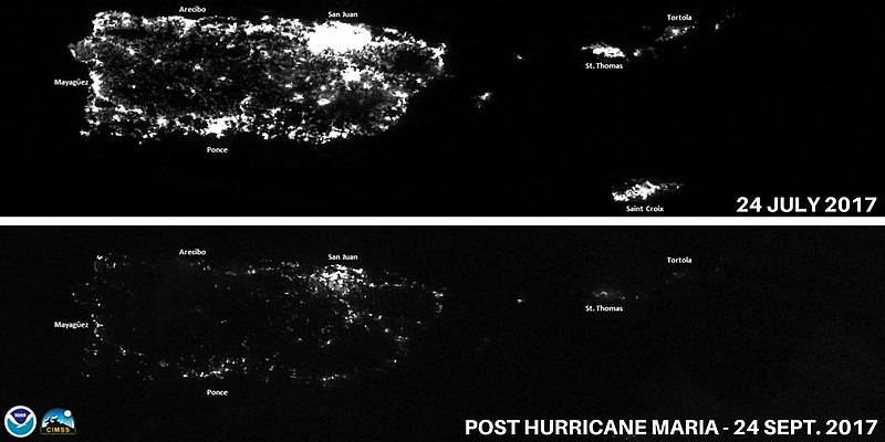 Satellite images show severe power outages in Puerto Rico following Hurricane Maria