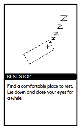 """Card from Atlas reads """"Find a comfortable place to rest. Lie down and close your eyes for a while."""""""