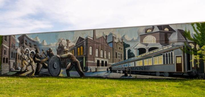 """The """"Visions of Pullman"""" mural in Chicago's Pullman Neighborhood"""
