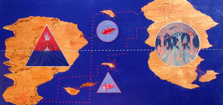 A psychogeographic represenation of friendship as depicted in artwork. It maps the paths between the homes of two friends, superimposed over an imagined landscape of the mind.