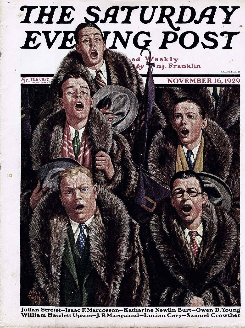 3e1ace49d27 Wildly expensive raccoon fur coats swept college campuses in the 1920s, a  trend illustrated here on the cover of a magazine from 1929.