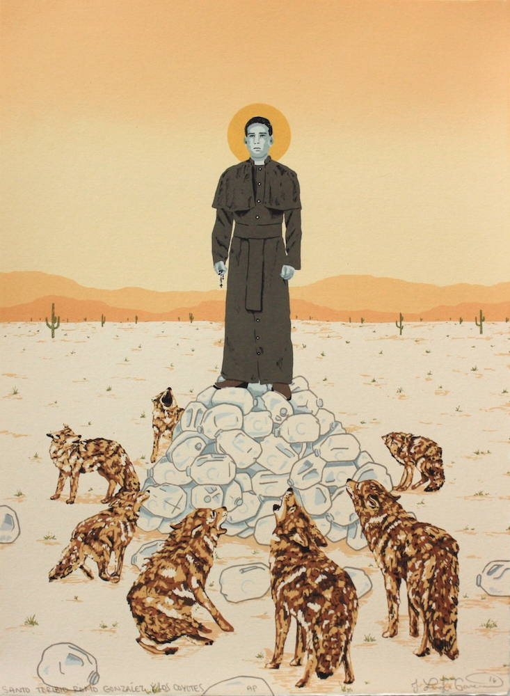 A figure of Santo Toribio stands atop a mound of water jugs in a yellow desert landscape; he is surrounded by cowering coyotes.