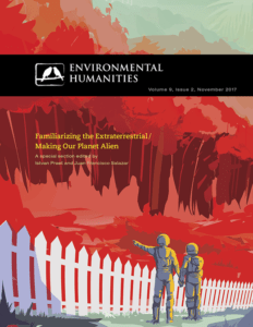 A journal cover for Environmental Humanities. Two human figures stand in front of a white picket fence and large red cliffs.