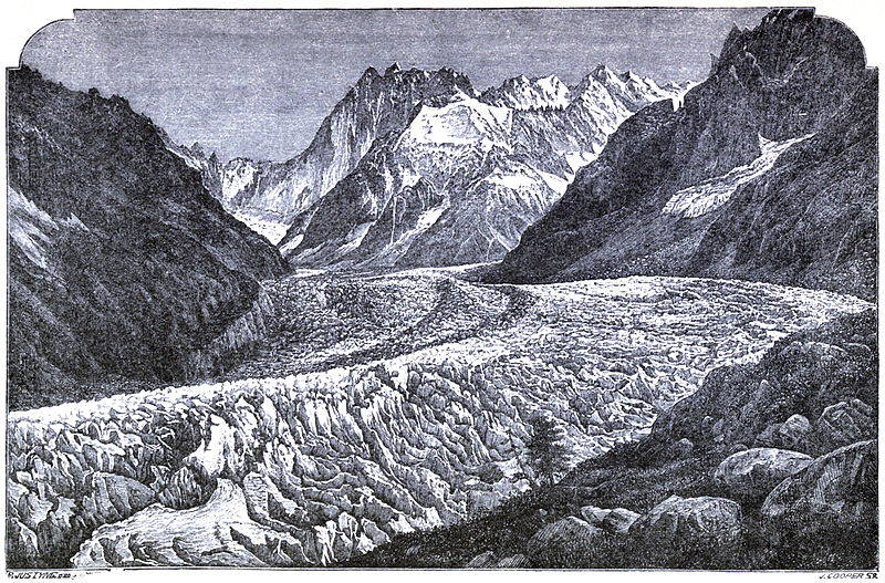 A black and white engraving of the treacherous landscape of a glacier sweeping from the bottom right of the image to the mountain peaks in the background.