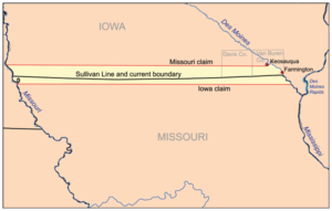 A boundary map shows the Sullivan Line dividing the states of Iowa and Missouri.