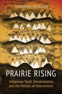 the book cover, a drawing of rolling prairie hills with conical tents