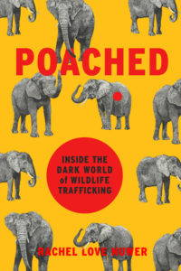 The title, Poached, appears in red letters on the bright yellow book cover, which also features grey elephants.
