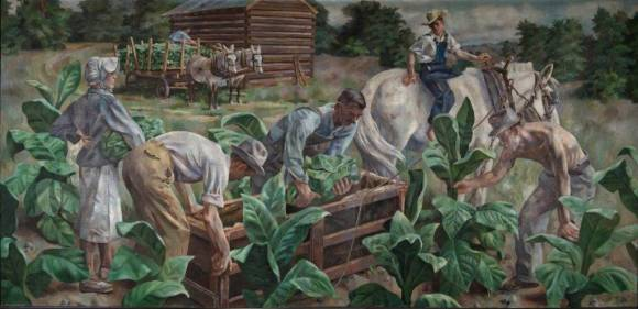 A realistic painting of tobacco picking, with (left to right) a woman holding a bunch of tobacco leaves under her right arm, two men loading leaves into a crate, a boy on a white mule watching them, and a shiftless man picking leaves off a plant. In the background, two mules pull of wagon a leaves in front of a log shed.