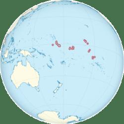 Kiribati on the globe