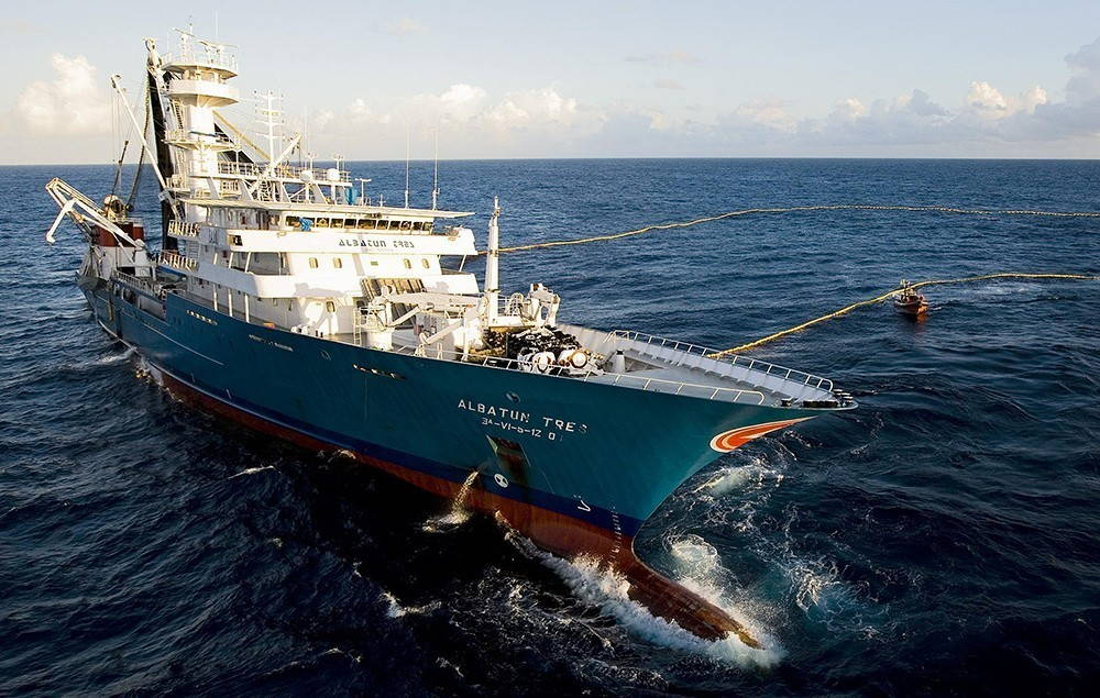 Spanish Fishing Vessel Albatun Tres in the open ocean