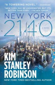 The book cover for New York 2140 showing lower Manhattan partially submerged in water