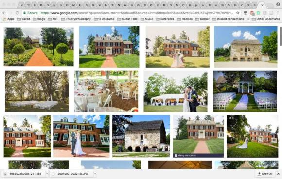 Photo collage including many photographs of a large brick plantation house. Many images include wedding tables and a kissing bride and groom.
