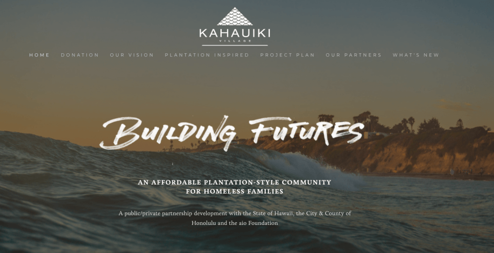 """Ad for Kahauiki housing. Blue ocean with white lettering, """"Building Better Futures"""""""