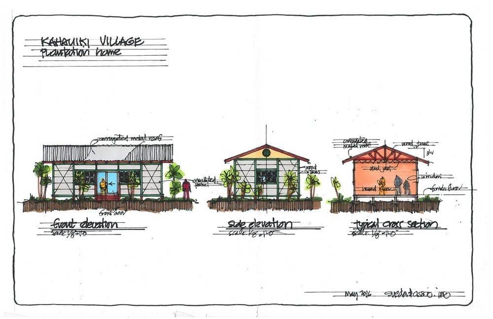 Sketch of three small plantation-style homes