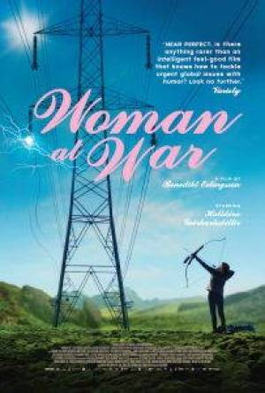 """Figure in the bottom right corner of the movie poster aims a bow and arrow at an electric pole. """"Woman at War"""" is centered in pink script."""