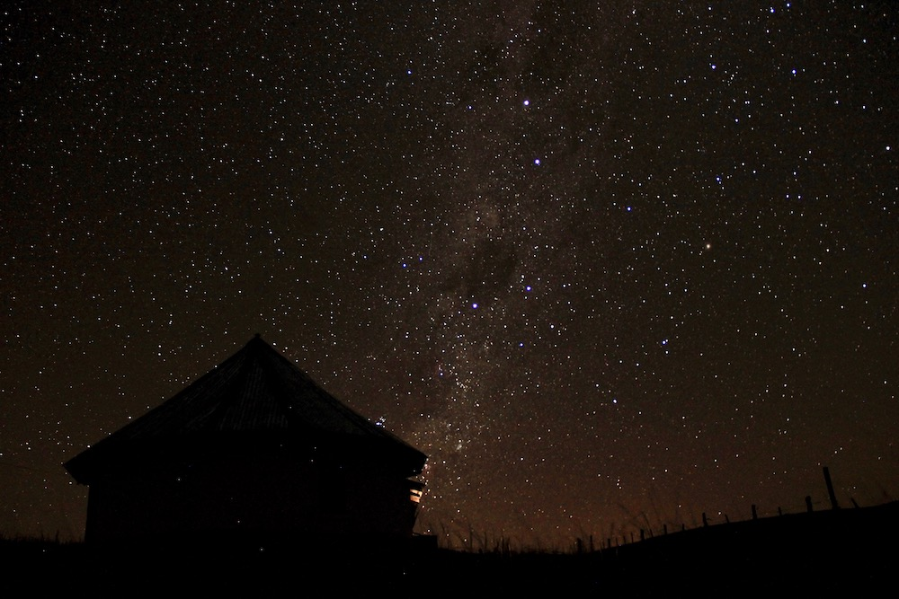 Stars above a villiage in South Africa.