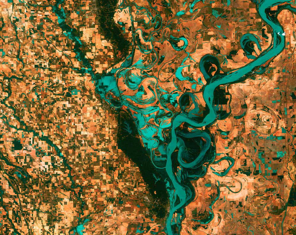 A satellite image of the Mississippi River