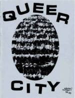 The cover of the zine Queer City showing the title and a black and white photograph of rows of houses