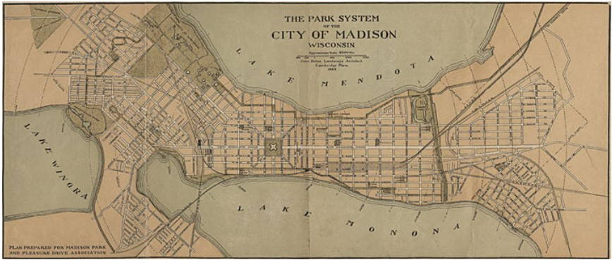 yellowed map of parks on the isthmus of Madison, Wisconsin
