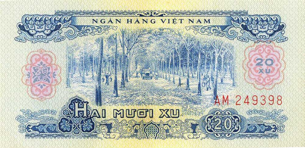 Vietnamese currency depicting laborers working at a rubber plantation