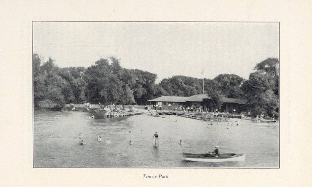People and small boats in lake at Tenney Park, built by Madison Park and Pleasure Drive Association