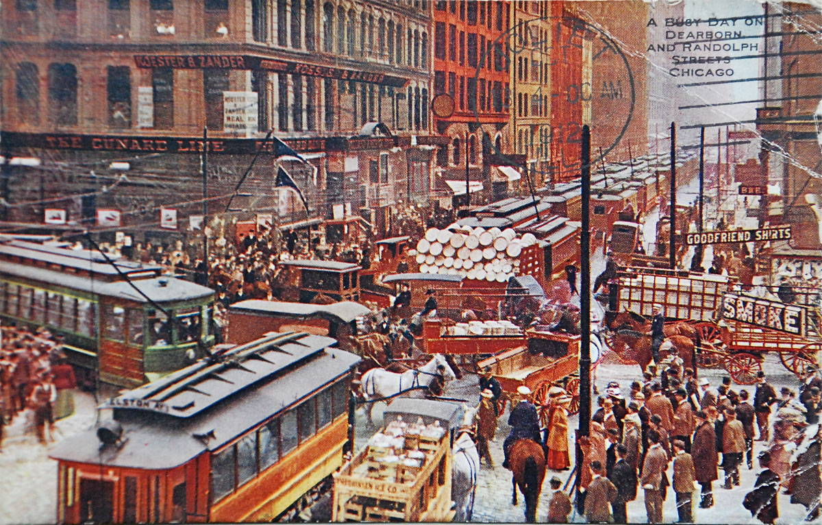 A souvenir postcard depicting Chicago in the early 20th century with streetcars, horses, pedestrians, and street signs