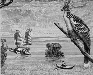 Painting of a woman in a row boat, a fish-shaped ship, and a large bird.