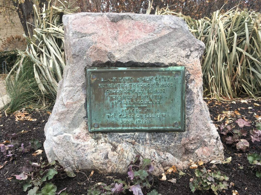 Green-ish plaque mounted on a rock. Long grass in background.