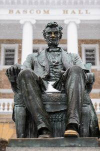 Statue of Abraham Lincoln in snow