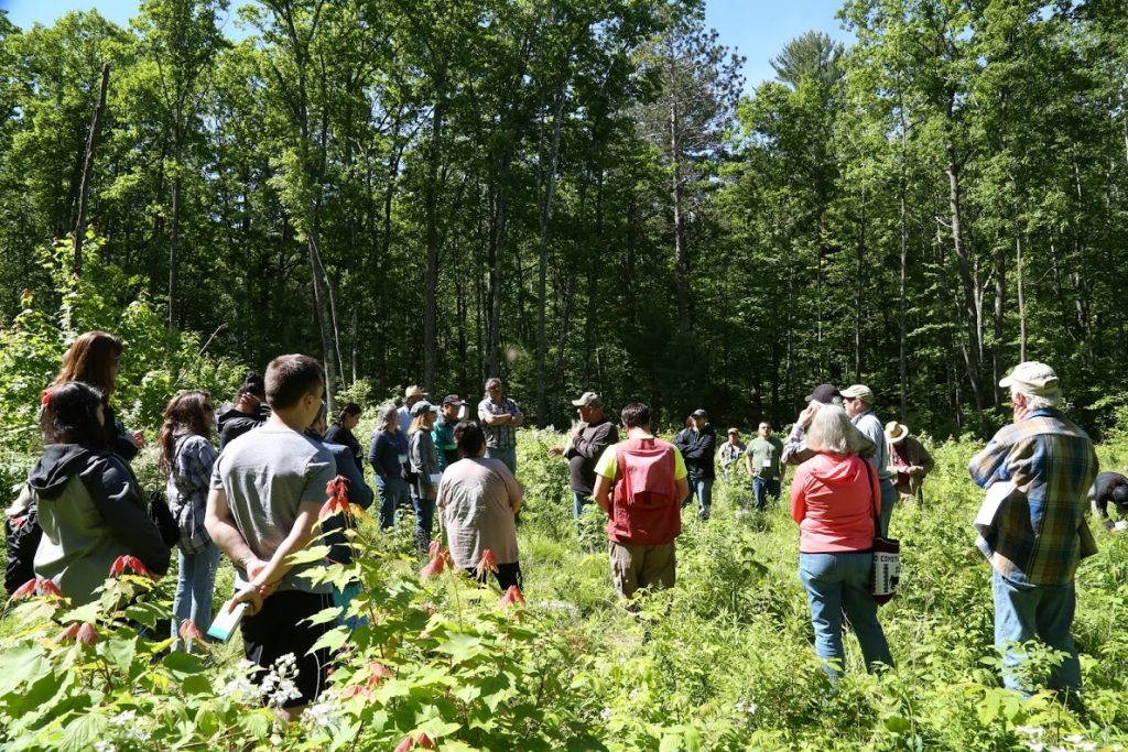A crowd of people gathers around Jeff Grignon in a leafy clearing