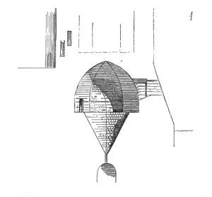 A black and white drawing of an oubliette