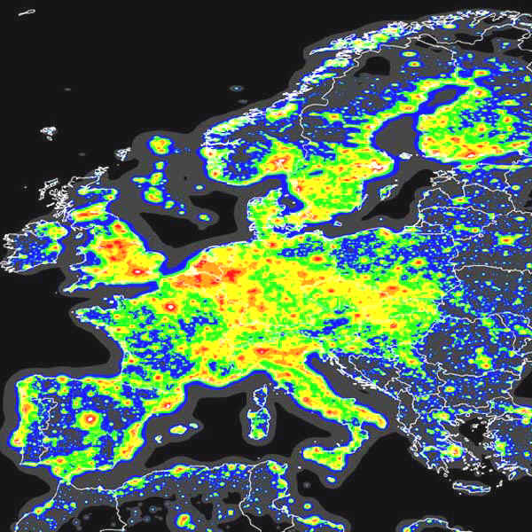 A map of Europe with large areas colored in yellow throughout, marking areas of light pollution