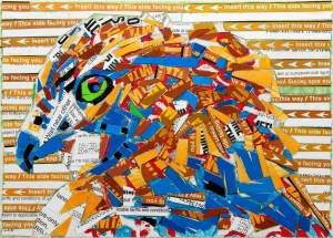 A mosaic made of NYC metrocards shows a red-tailed hawk looking out at the viewer