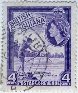 A stamp showing an illustration of the British Queen and an Amerindian shooting fish