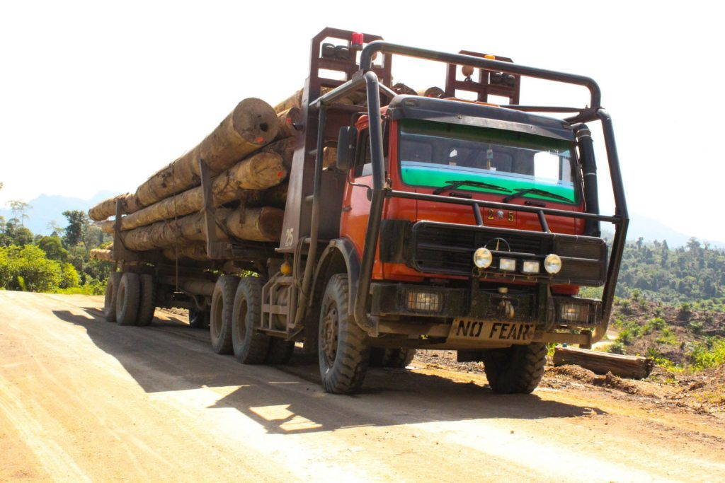 Logging truck with 'No Fear' in the place of a number plate
