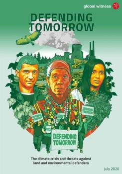 """Portraits of environmental defenders in the foreground. Nuclear powerplant, smoke stacks, and logging equipment in background. Text reads """"Defending Tomorrow."""""""