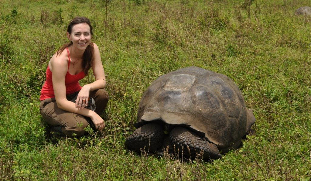 Woman kneels beside large tortoise.